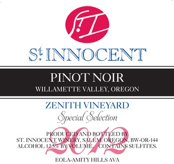 2012 Pinot Noir Zenith Vineyard Special Select